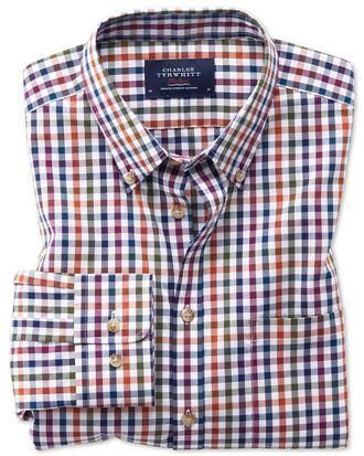 Classic fit button-down non-iron poplin berry multi gingham shirt