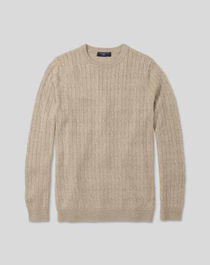 Merino Linen Cable Knit Crew Neck Sweater - Stone