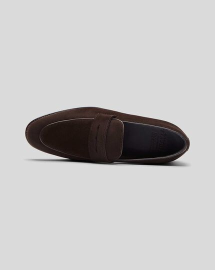 Goodyear Welted Suede Performance Saddle Loafer  - Chocolate
