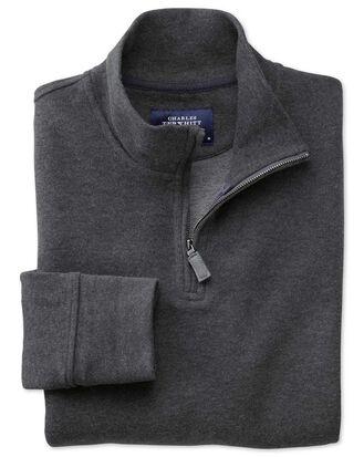 Charcoal half zip jersey jumper