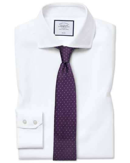 Chemise blanche en oxford de coton stretch extra slim fit à col cutaway sans repassage