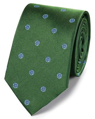 Green and blue silk English rose classic tie