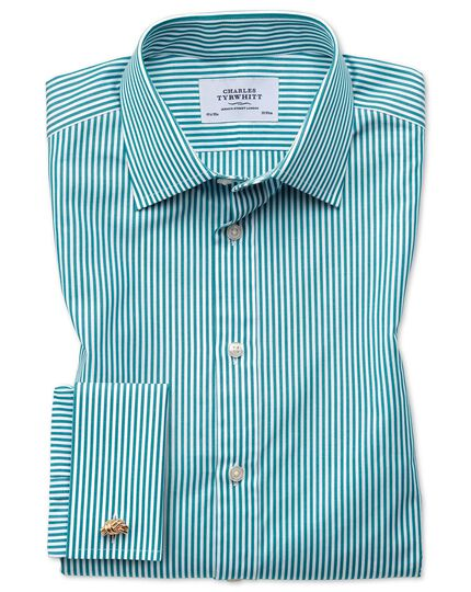 Chemise verte slim fit à rayures Bengale