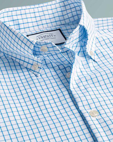 Chemise business casual bleu canard extra slim fit à col boutonné sans repassage