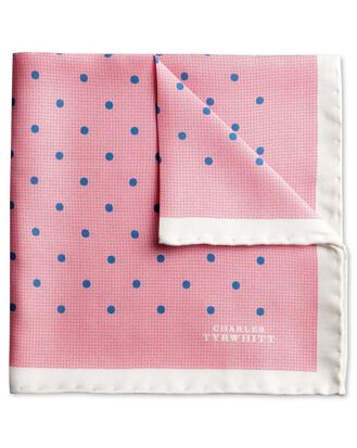 Pink and blue classic printed spot pocket square