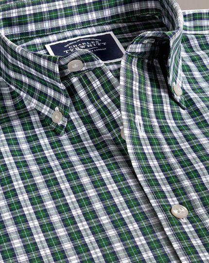 Bügelfreies Classic Fit Hemd mit Schottenkaros in Grün und Marineblau
