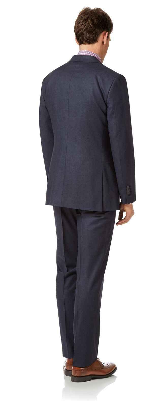 Airforce blue slim fit flannel business suit
