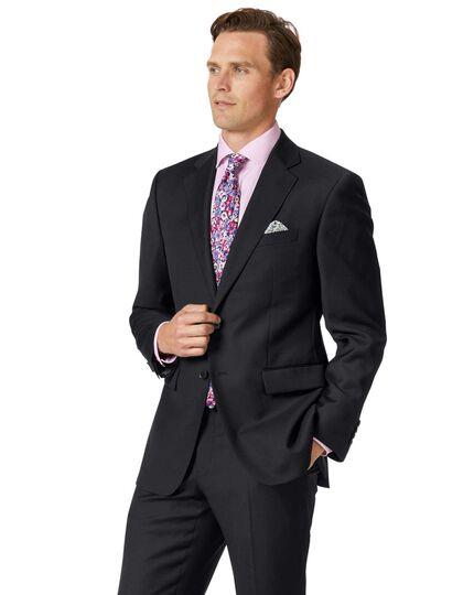 Classic Fit Business Anzug Sakko aus Twill in Schwarz