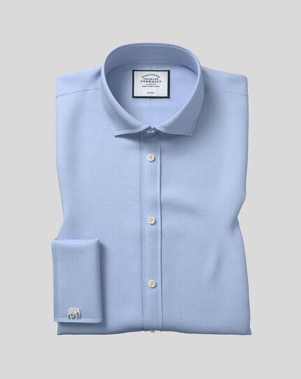 Spread Collar Non-Iron Herringbone Shirt  - Sky