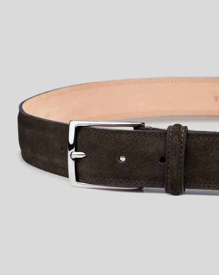 Made in England Suede Belt - Chocolate