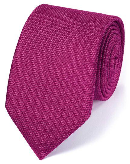 Cravate classique fuchsia en soie unie