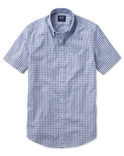 Slim fit navy short sleeve gingham soft washed non-iron Tyrwhitt Cool shirt