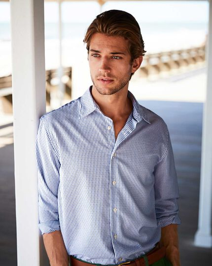 Slim fit washed white and blue striped textured shirt