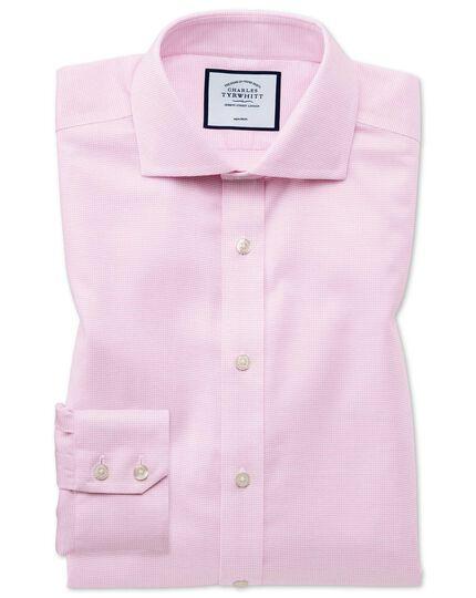 Chemise rose en oxford de coton stretch à col cutaway extra slim fit sans repassage