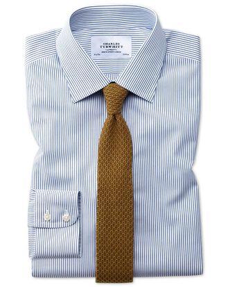 Extra slim fit non-iron stripe navy blue shirt