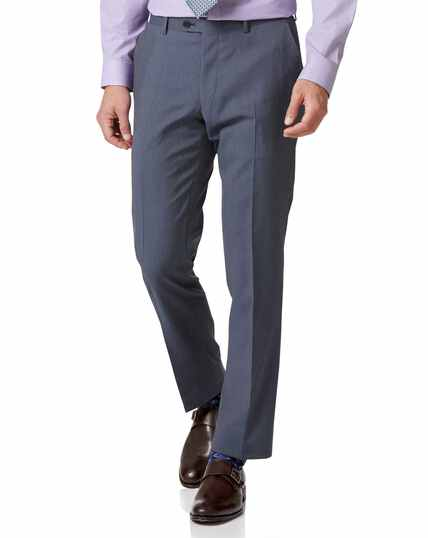 Light blue slim fit herringbone business suit trousers