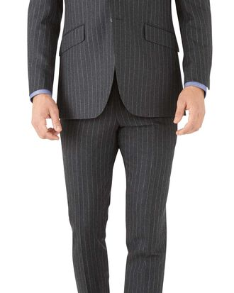 Charcoal stripe slim fit flannel business suit