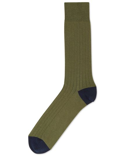 Olive cotton rib socks