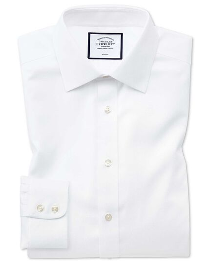 Chemise blanche coupe droite tissage effet triangles sans repassage