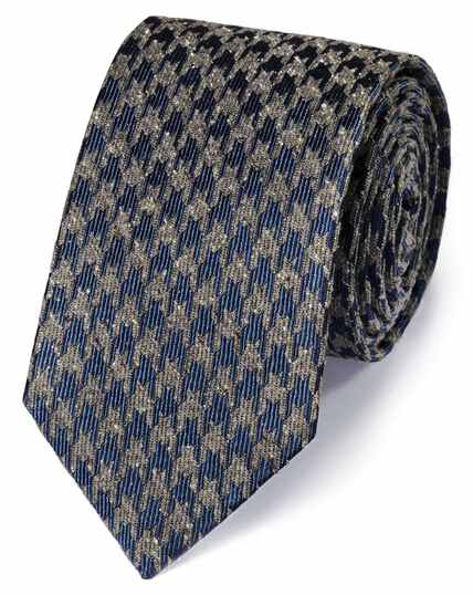 Cravate classique bleu marine et grise en soie à motif pied-de-poule moucheté