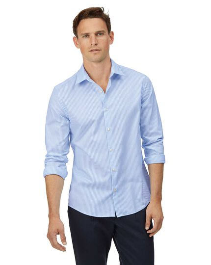 Extra slim fit sky blue and white stripe soft washed textured shirt