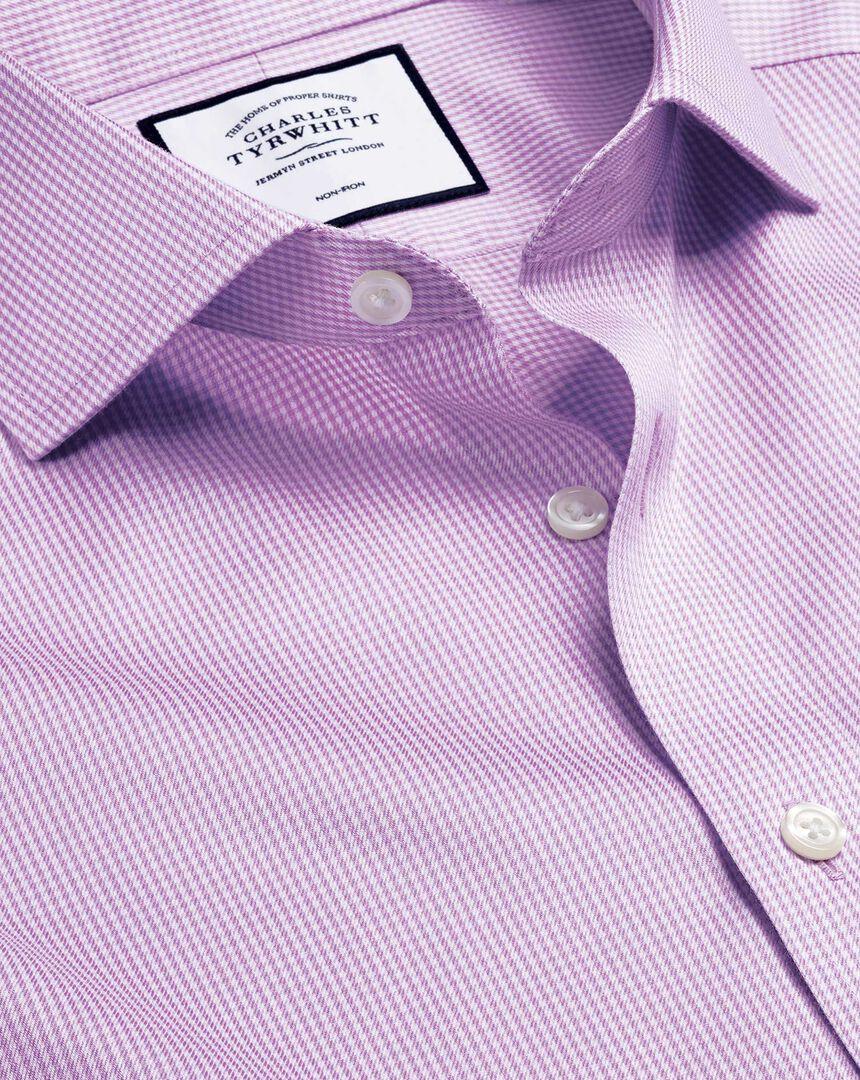 Spread Collar Non-Iron Puppytooth Shirt  - Lilac