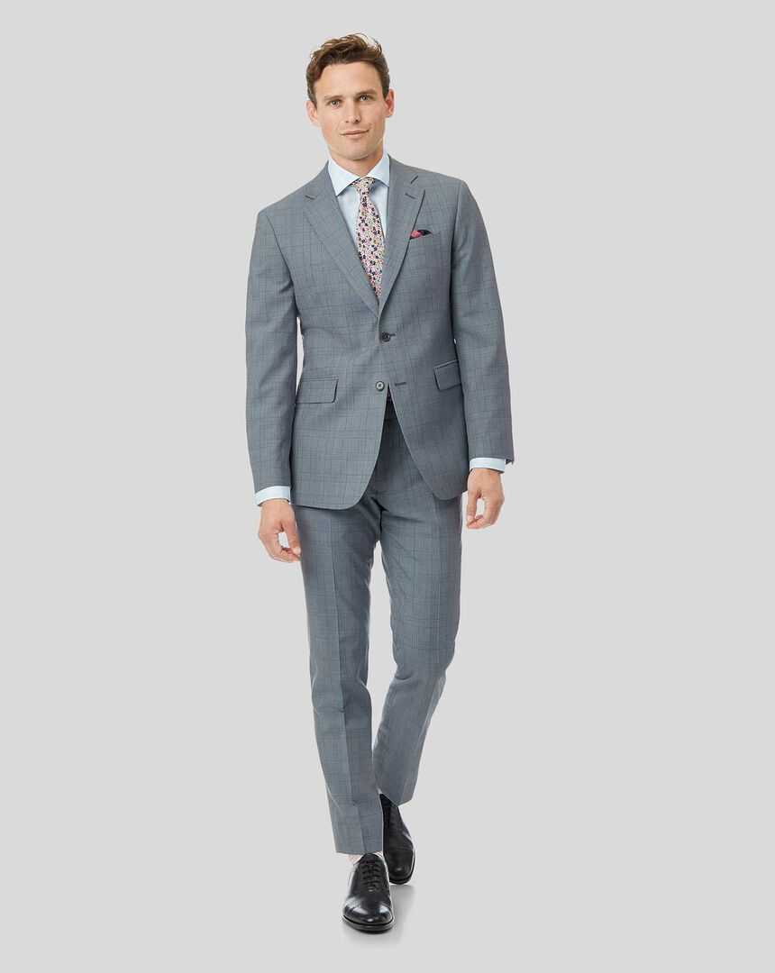 Wool Linen Check Suit - Sky Blue