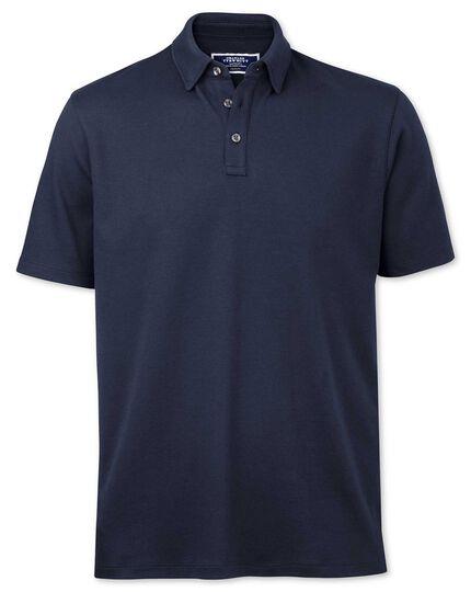 Navy jersey polo shirt