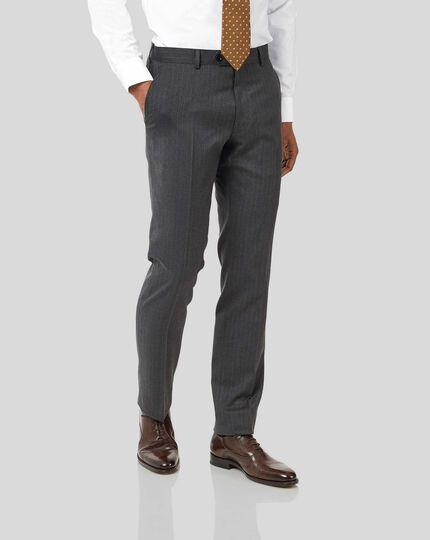 Stripe Birdseye Travel Suit Pants - Grey