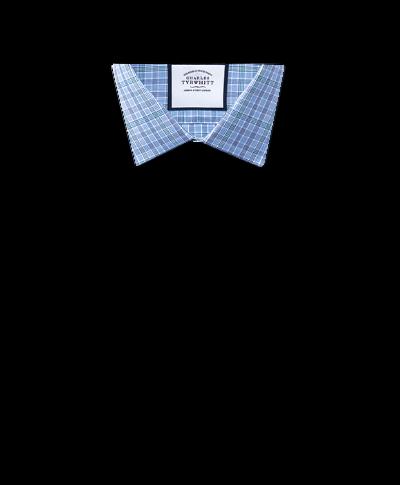Chemise bleue et verte à carreaux Prince de Galles coupe droite