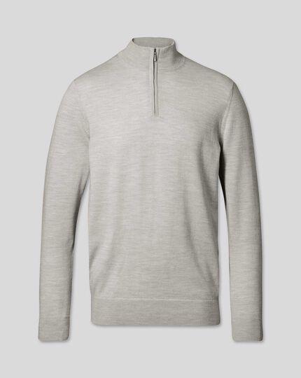 Merino Zip Neck Jumper - Silver