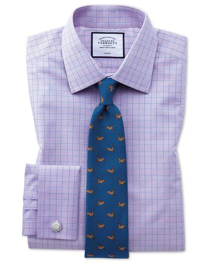 Bügelfreies Classic Fit Hemd mit Prince-of-Wales-Karos in Lila und Blau