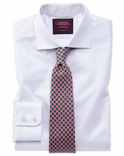 Classic fit luxury non-iron fine stripe lilac shirt