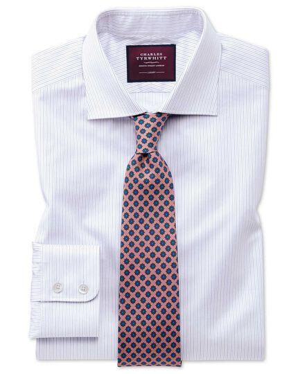 Classic fit luxury fine stripe lilac shirt