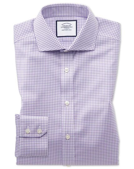 Slim fit non-iron lilac grid check Oxford stretch shirt