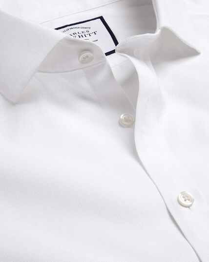 Cutaway Collar Non-Iron Ludgate Weave Shirt - White