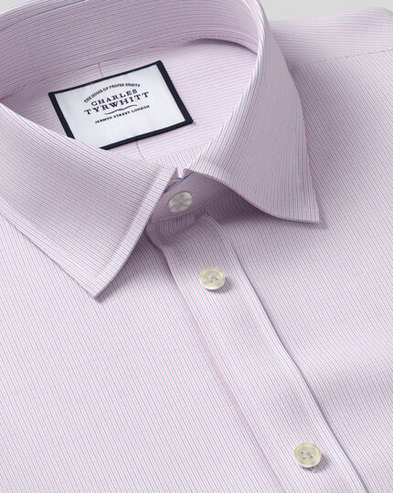 Classic Collar Poplin Stripe Shirt- Pink & Blue