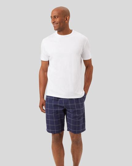 Check Pajama Shorts - Navy & White
