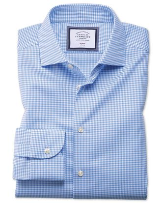 Extra slim fit semi-spread collar business casual non-iron modern textures sky blue shirt