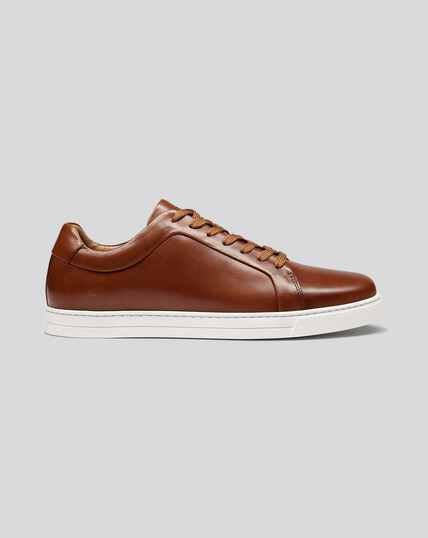 Leather Trainers - Tan