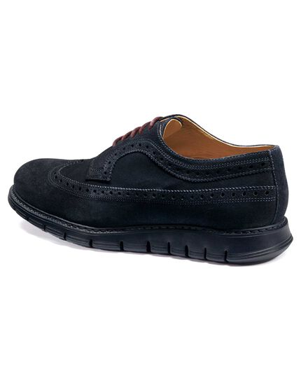 Navy suede extra lightweight Derby brogue shoes