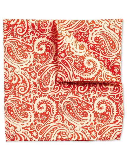 Orange and white luxury English paisley pocket square