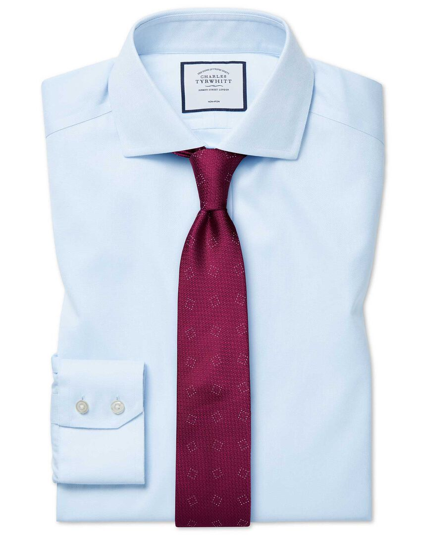 Extra slim fit cutaway non-iron cotton stretch light blue shirt