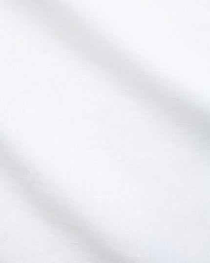 Slim fit cutaway business casual linen cotton white shirt