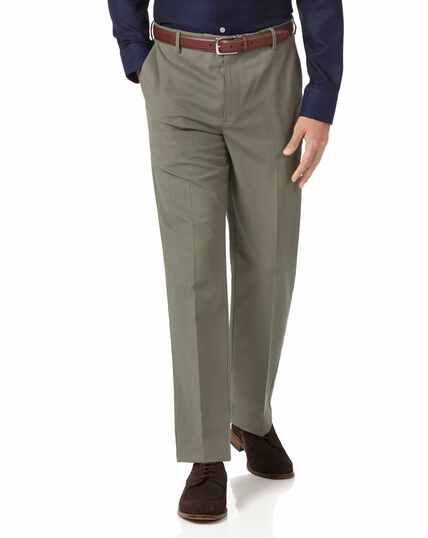 Olive classic fit stretch non-iron trousers