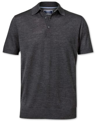 Charcoal merino wool polo collar short sleeve jumper