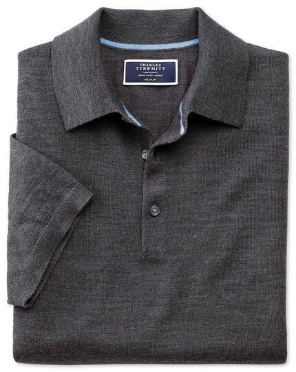 Charcoal merino wool polo collar short sleeve sweater