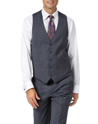 Light blue adjustable fit twill business suit vest