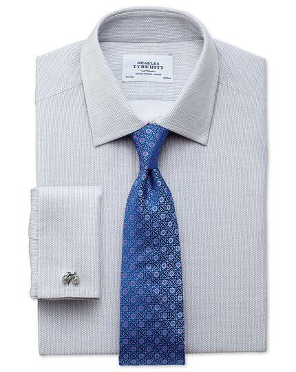 Slim fit Egyptian cotton diamond texture light grey shirt