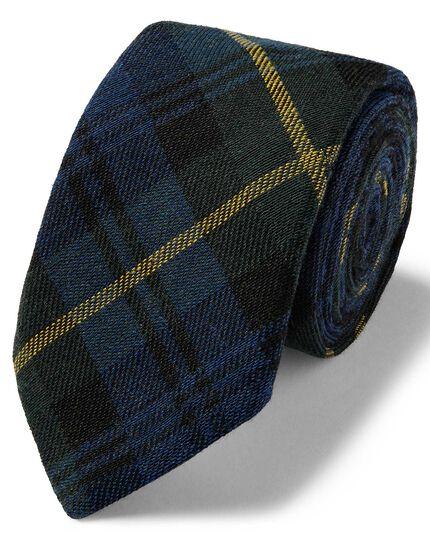 Navy and green tartan check wool silk luxury Italian tie
